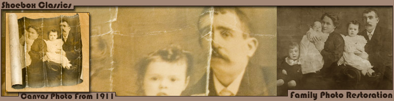 Family Photo Restoration - Old Canvas/Linen/Parchment Photos Digitally Retored