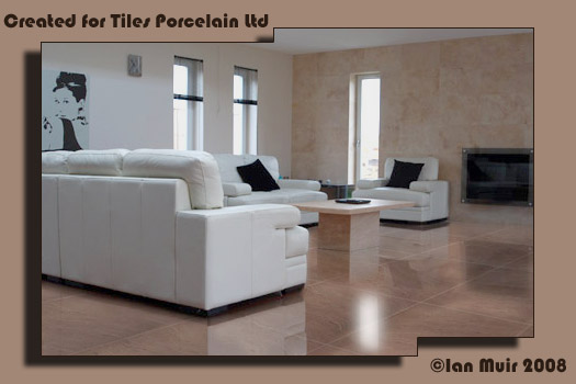 Polished Porcelain Floor with Audrey Hepburn Photo, Cream Leather Suite in a Modern Living Room
